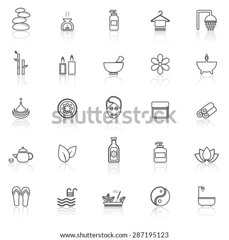 Spa line icons with reflect on white, stock vector - stock vector