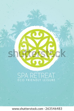Spa Retreat Organic Eco Leisure Vector Nature Friendly Concept on Palm Tree Background - stock vector