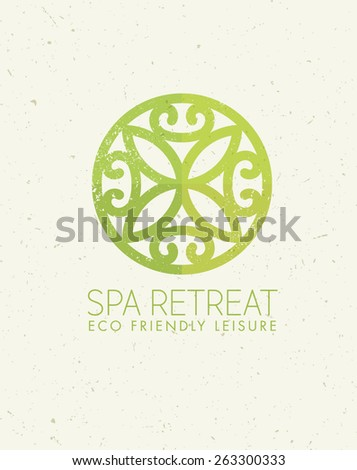 Spa Retreat Organic Eco Leisure Vector Nature Friendly Concept on Paper Background - stock vector