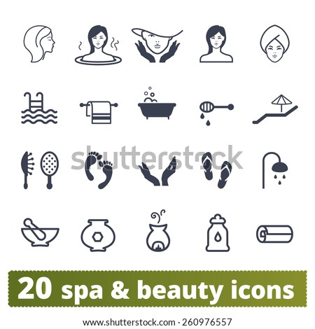 Spa salon icons: vector set of recreation, wellness and beauty signs. - stock vector