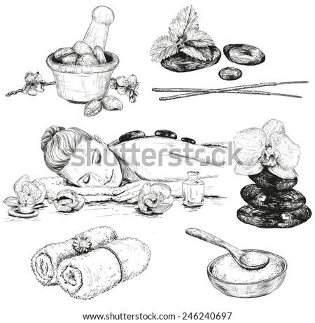 Spa sketch set. Beauty hand drawn illustrations  - stock vector