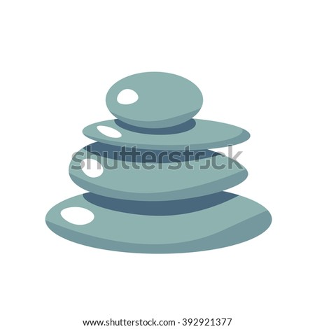 Spa Stone flat vector icon, health stone illustration, spa symbol. Cartoon wellness massage stone relaxation isolated white - stock vector