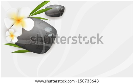 Spa swirl background with stones, plumeria and leaves - stock vector