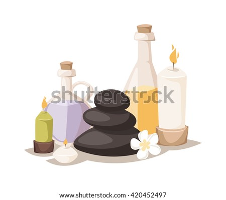 Spa symbols cartoon decorative icons. Set with bamboo towels, aroma candles isolated vector illustration spa symbols and body wellness spa symbols natural treatment element. Massage herbal concept. - stock vector