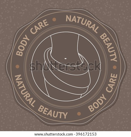 SPA theme vector illustration with text Body Care Natural Beauty. Badge template. - stock vector