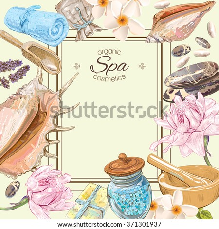 Spa treatment colorful frame with pink lotus,shells, frangipani and stones .Design for cosmetics, store,spa and beauty salon.Vector illustration. With place for text - stock vector