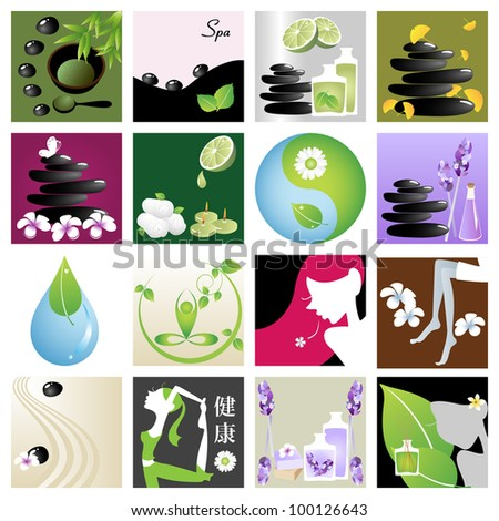 Spa & wellness graphic design elements for icons, logos & background. (Part 6) - stock vector