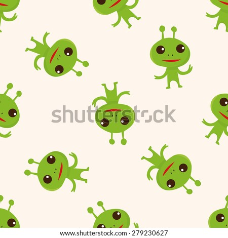 Space alien , cartoon seamless pattern background - stock vector