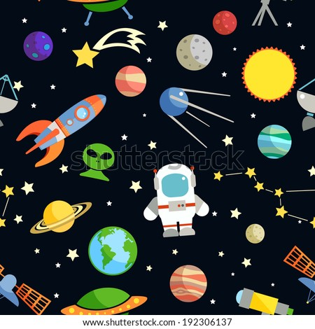 Space and astronomy decorative symbols seamless pattern vector illustration - stock vector