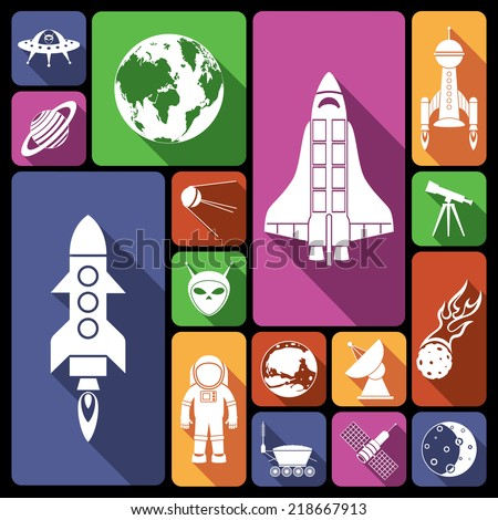 Space and astronomy flat icons set with rocket spaceman flying saucer isolated vector illustration - stock vector