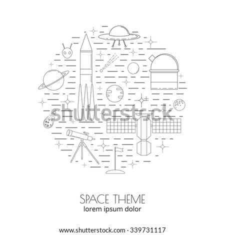 Space and astronomy linear icons composed in circle shape. Thin line and outline icons. Planets, stars, rocket, ufo, alien, satellite, asteroid, moon, flag, telescope. Space line icons in circle. - stock vector