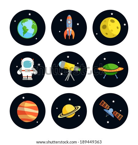 Space and astronomy round icons set of earth rocket moon astronaut isolated vector illustration - stock vector