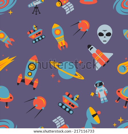 Space and astronomy seamless pattern with flying saucer spacecraft astronaut vector illustration - stock vector