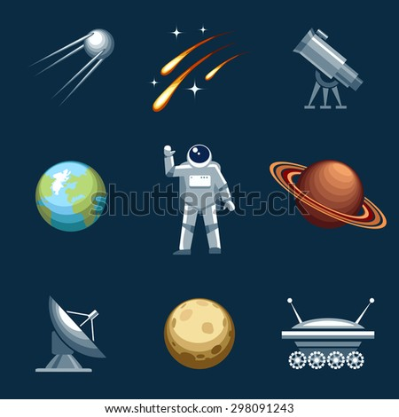 Space and astronomy set. Astronaut and spacesuit, cosmonaut and comet, moonwalker and telescope. Vector illustration - stock vector