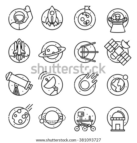 Space and astronomy, vector outline icons. - stock vector