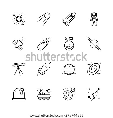 Space and cosmos icon set in outline style - stock vector