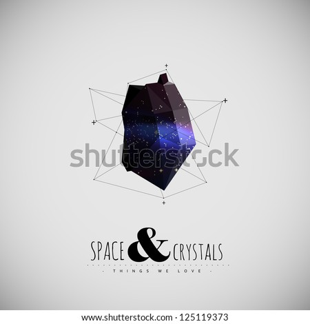 Space and Crystal modern poster - stock vector