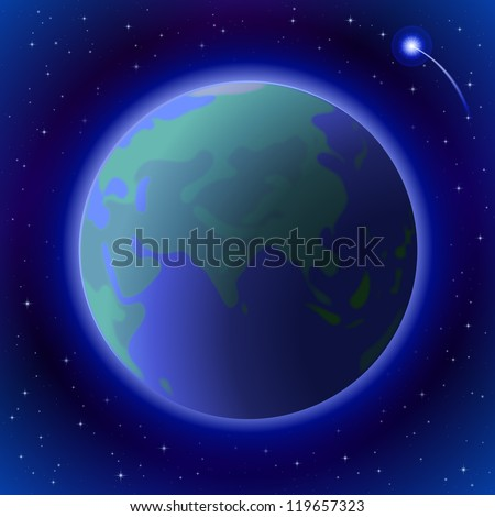 Space background, planet mother Earth in close-up, bright comet and stars. Vector eps10, contains transparencies - stock vector