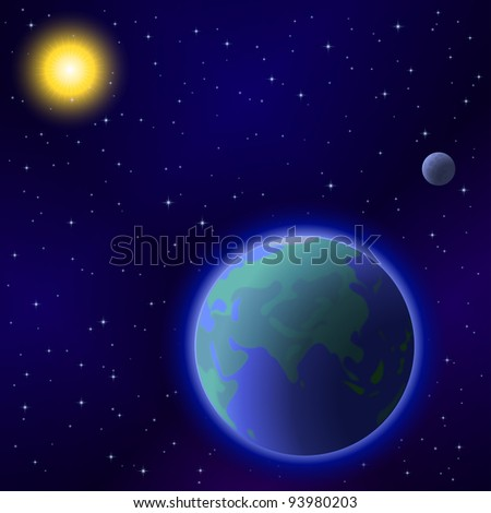 Space background: planet mother Earth, moon, sun and stars, eps10, contains transparencies. Vector - stock vector