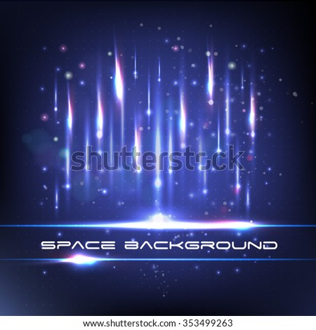 Space background with blue light. Comets fall to Earth - stock vector