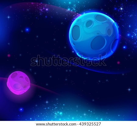 Space background with shining stars and blue planet. Vector illustration. - stock vector