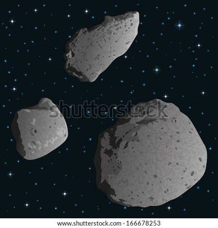 Space background with stars and realistic stone asteroids - asteroid Gaspra and ex asteroids, moons of Mars - Phobos and Deimos. Elements furnished by NASA. Vector - stock vector