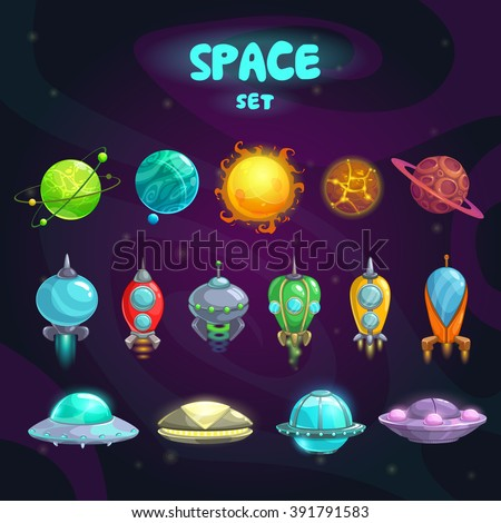 Space cartoon icons set. Planets, rockets, ufo elements on cosmic background - stock vector