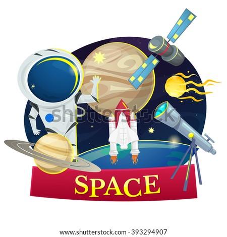 Space concept design, astronomy set vector illustration - stock vector