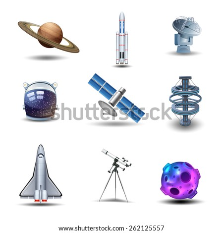 Space decorative icons set with asteroid spaceman helmet rocket isolated vector illustration - stock vector