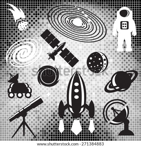 Space design elements of space icons on mosaic background in black and white. - stock vector