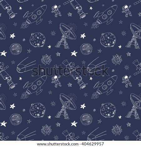 Space doodles icons seamless pattern. Hand drawn sketch with meteors, Sun and Moon, radar, astronaut rocket and stars. vector illustration. - stock vector