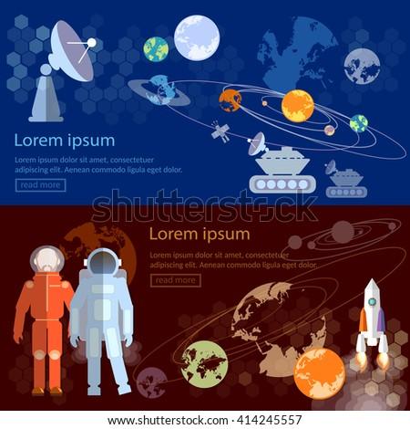 Space exploration banners astronauts international space program - stock vector