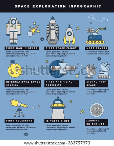 Space exploration timeline infographic layout poster with historical dates of spacecrafts launches and technological achievements vector illustration  - stock vector