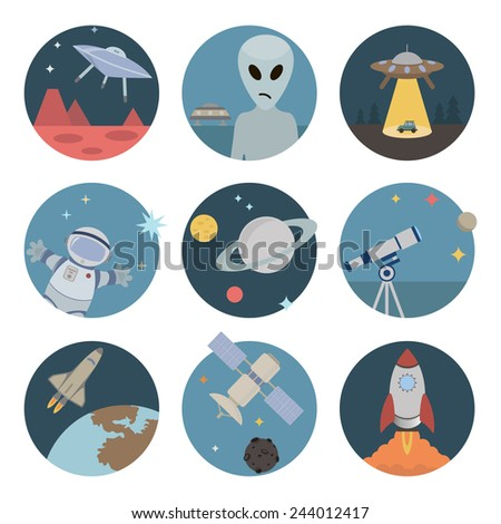 Space flat icons - stock vector