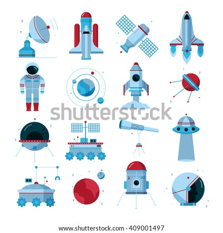 Space flat icons set with spacecrafts  instruments moon crawler and  telescopes white background poster abstract vector illustration - stock vector