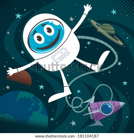 Space Fun: Cartoon illustration of astronaut in outer space. No transparency and gradients used.  - stock vector