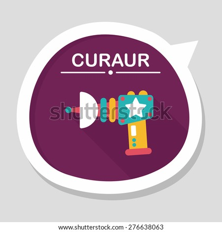 Space gun flat icon with long shadow,eps10 - stock vector