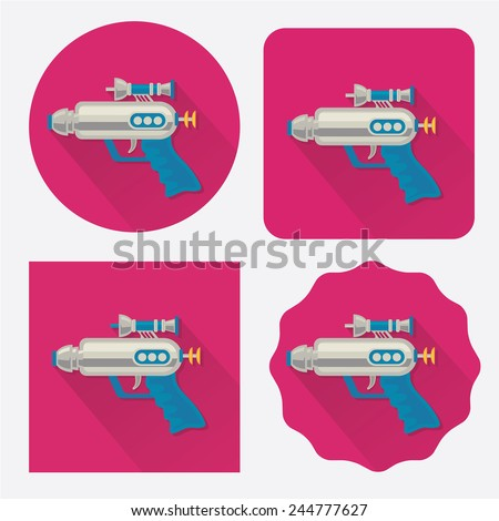 Space gun/ray gun flat icon with long shadow - stock vector