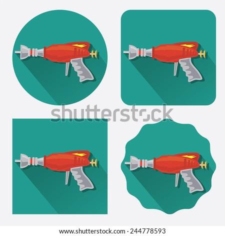 Space gun/ray gun flat icon with long shadow - stock vector