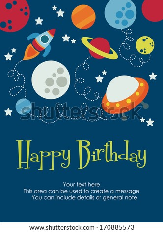 space happy birthday card design. vector illustration - stock vector