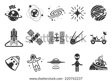 Space icons - Illustration - stock vector