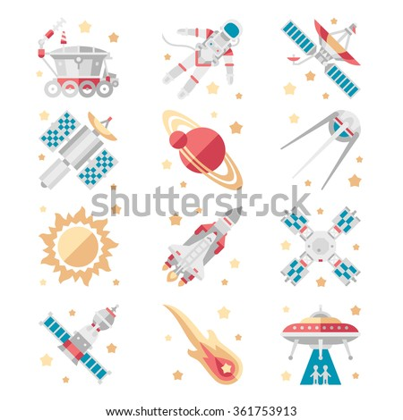 Space Icons set Vector Collection flat style - stock vector