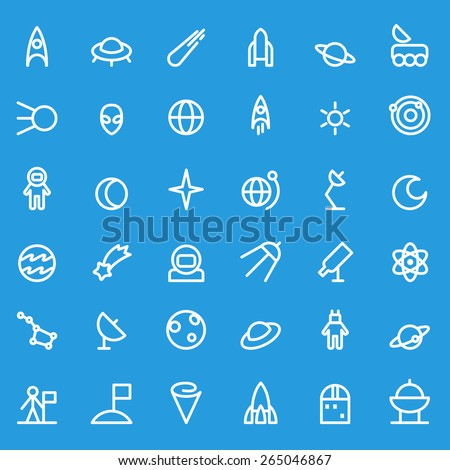 Space icons, simple and thin line design - stock vector