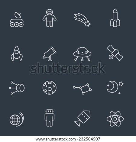 Space icons, thin line design, dark background - stock vector