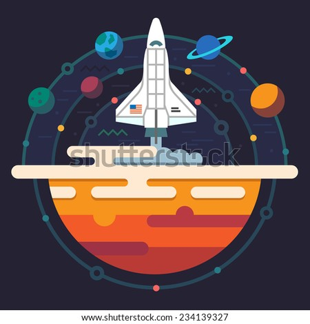 Space illustration. Planets of solar system. Rocket flying to Galaxy. Vector flat illustration - stock vector
