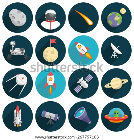 Space, Illustration series, Flat design, long shadow - stock vector