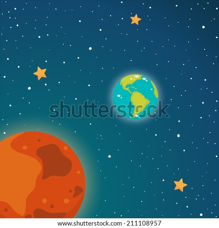 Space. Inner planets: Mars and Earth, vector. - stock vector