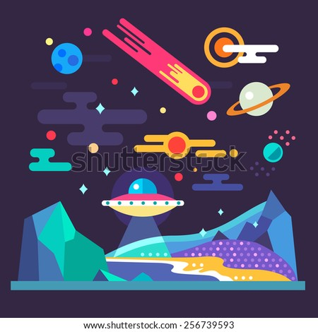 Space landscape: stars, planets, comet, ufo, stardust. Solar system. Relief of planet: blue mountains, purple lands, yellow sand. Vector flat illustrations and background - stock vector