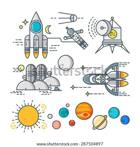 Space line art icon set. Cosmos logo. Cosmos set. Cosmos line icons. Rocket line icon. Planet line icon. Spaceship line icon. Sun line logo. Earth line logo. Astronaut logo. Cosmos vector set. - stock vector