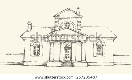 Space Museum, former House Poltava fire brigade, Ukraine. Stone edifice with attic and pillars. Freehand ink drawn backdrop sketchy in art scrawl antiquity style pen on paper and space for text on sky - stock vector